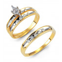 14k Solid Gold 0.24 Ct Round Diamond Wedding Ring Trio