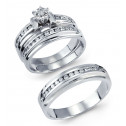 14k White Gold 0.58 Ct Round Diamond Wedding Ring Trio