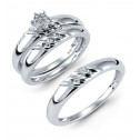 14k White Gold Round Baguette Diamond Ring Wedding Set