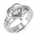 .925 Sterling Silver Round White CZ Heart Promise Ring