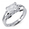 925 Sterling Silver Solitaire Emerald Cut White CZ Ring