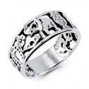 925 Sterling Silver Flower Eye Elephant Lucky Owl Ring