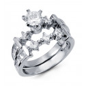 Sterling Silver Round Princess Cut CZ Wedding Ring Set