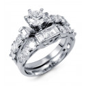 New 925 Silver Round Baguette CZ Engagement Ring Set