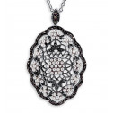 925 Sterling Silver Marcasite Synthetic Pearl Necklace