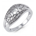 Mother's Solid 14k White Gold Round Diamond MOM Ring