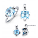 14k White Gold Aquamarine Round Diamond Ring Earrings