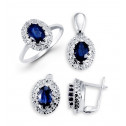 14k White Gold Sapphire Round Diamond Ring Earrings