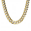 14k Yellow White Gold Curb Chain Milgrain Necklace 13mm