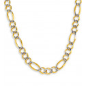 14k Two Tone Gold Figaro Chain Milgrain Necklace 12mm