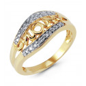 Mother's 14k Solid Yellow Gold Round Diamond MOM Ring