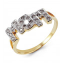 Solid 14k Yellow Gold MOM Mothers Round Diamond Ring