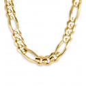 14k Solid Yellow Gold Figaro Chain Link Necklace 12mm