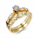 14k Yellow Gold Oval Round Diamond Engagement Ring Set
