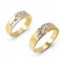 14k Gold Round Diamond Matching Wedding Band Ring Set