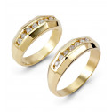 14k Yellow Gold Round Diamond Matching Wedding Ring Set