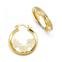 14k Yellow Gold Butterfly Princess Cut CZ Hoop Earrings