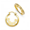 14k Yellow Gold Heart Flower Princess CZ Hoop Earrings