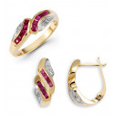14k Solid Gold Ruby 0.07 Ct Round Diamond Ring Earrings