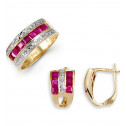 14k Solid Gold Ruby 0.11 Ct Round Diamond Ring Earrings