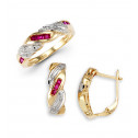 14k Solid Gold Ruby Round Diamond Ring Earrings Set