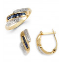 14k Solid Gold Sapphire Round Diamond Ring Earrings
