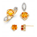 14k Solid Gold Topaz .03 Ct Round Diamond Ring Earrings