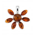 Polished .925 Sterling Silver Amber Flower Pendant