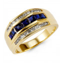 10K Yellow Gold Princess Sapphire Round Diamond Ring