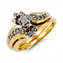 10k Yellow Gold 0.30 Ct Round Diamond Flower Ring Set