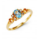 10k Yellow Gold Blue Topaz 0.12 Ct Round Diamond Ring
