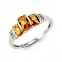 10k White Gold Topaz 0.08 Ct Round Diamond Fashion Ring
