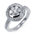Women's Round 1ct Cluster Diamond 14k White Gold Ring