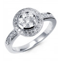 Women's Round 3/4ct Cluster Diamond 14k White Gold Ring