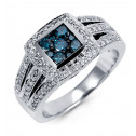 New 14k White Gold Round 1ct Blue Diamond Square Ring