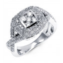 14k White Gold 1ct Round Diamond Square Cluster Ring