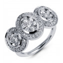 New Women's 1.50ct Diamond Cluster 14k White Gold Ring
