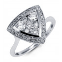14k White Gold Triangle Cluster 1ct Round Diamond Ring