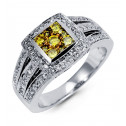 New 14k White Gold Round 1ct Yellow Diamond Square Ring