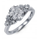 Women's 1ct Round Diamond Cluster 14k White Gold Ring