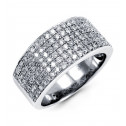 New Wide Band 14k White Gold 0.93ct Round Diamond Ring