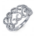 New Women's 14k White Gold Open Swirl Diamond Band Ring