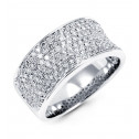 New Wide Band 14k White Gold 1.11ct Round Diamond Ring