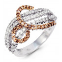 Women's New 14k White Gold Champagne Loop Diamond Ring