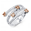 New Women's 14k White Gold Round Champagne Diamond Ring