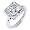 14K White Gold Round 1ct Diamond Square Cocktail Ring