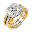 Women's 14K Yellow White Gold Round Diamond Square Ring
