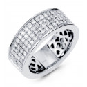 Women's 14k White Gold Four Row Wide Diamond Band Ring