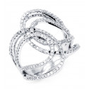 New Women's 14k White Gold Round Diamond Split Ring