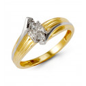 14k Yellow White Gold 0.60 Ct Love Cut Diamond Ring